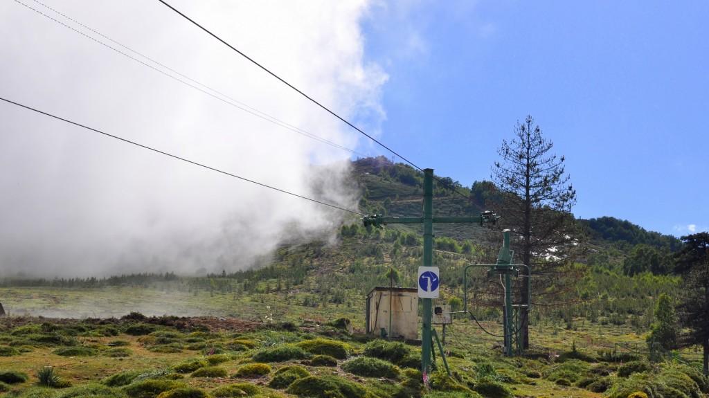 Castel di Vergio, station de ski. La brume traverse la vallée
