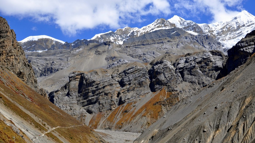 Tour nord des Annapurnas - Sentier vers Thorung Phedi. Purbung Himal