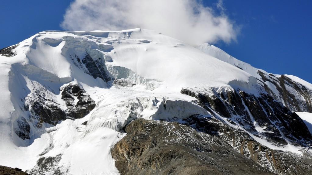 Tour nord des Annapurnas - Glacier du Thorung Peak depuis le col de Thorung La