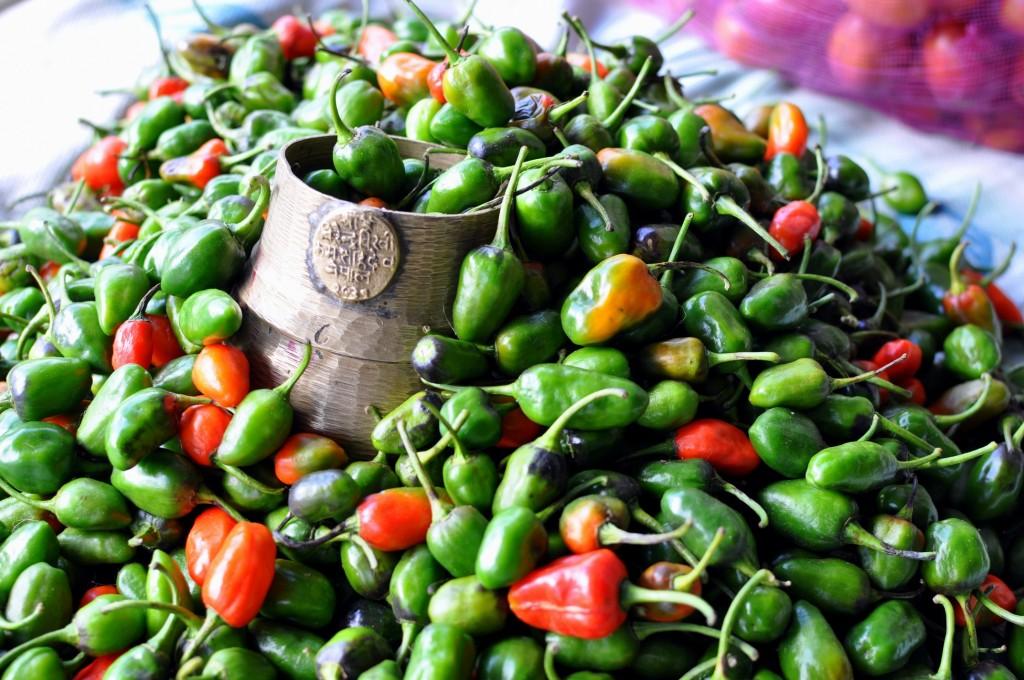 Piments frais, marche de Namche Bazaar