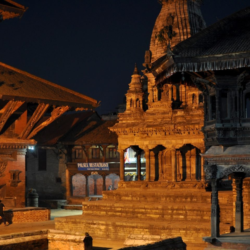 Bhaktapur, Durbar Square by night