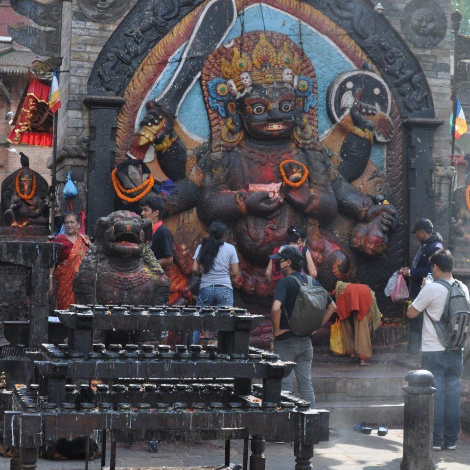 Katmandou, Durbar Square. Statue du dieu Hanuman