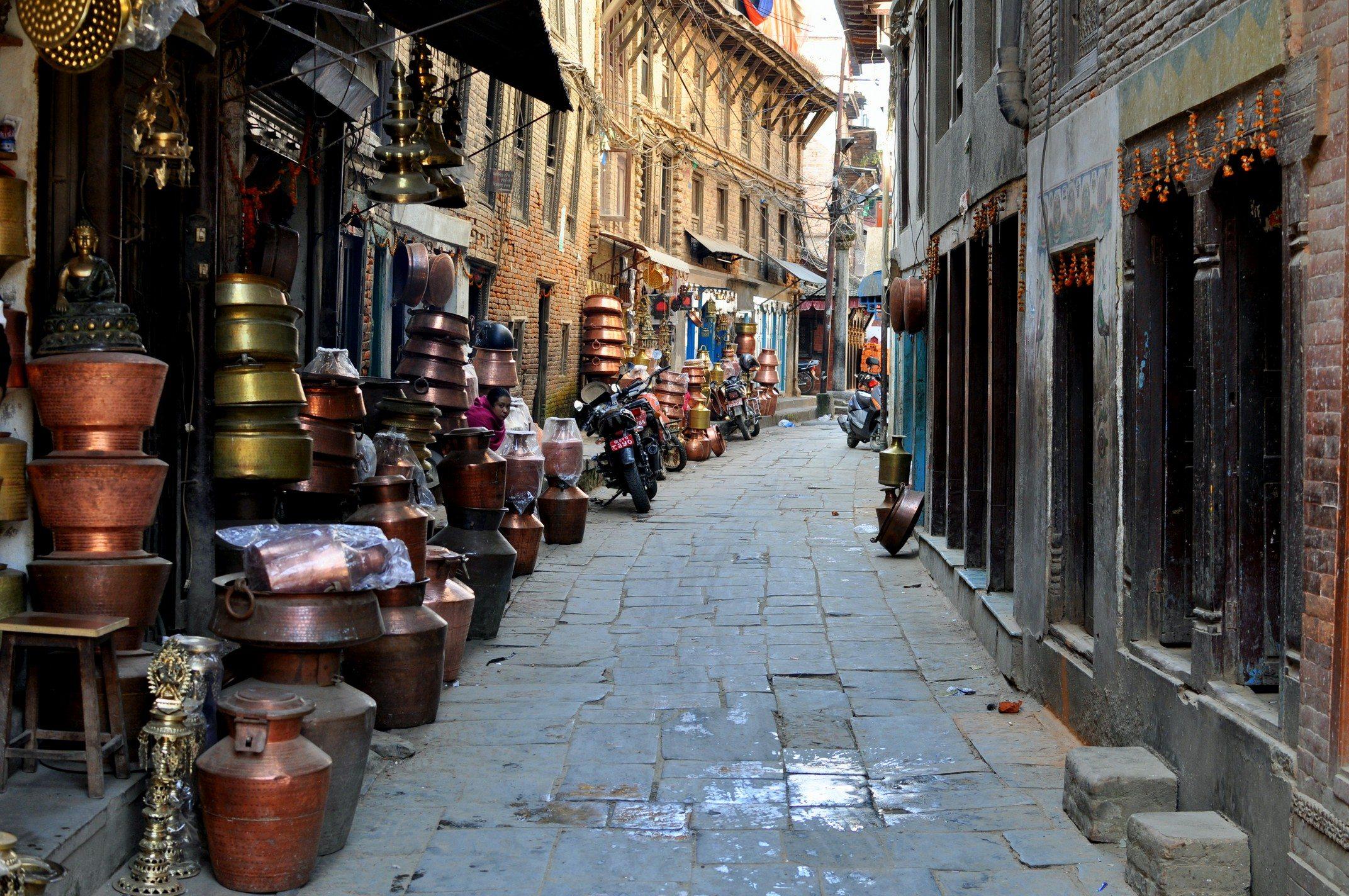 Vallée de Katmandou - Patan, rue des cuivres et bronzes