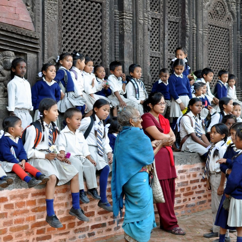 Bhaktapur, écoliers