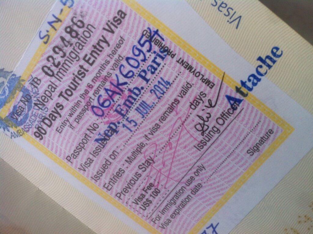 Organiser votre trek au Nepal - Visa